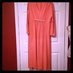 {vintage} Coral Maxi Long Sleeve Plus Size Dress